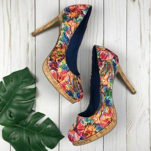 Fioni Tropical Floral Heels Size 8